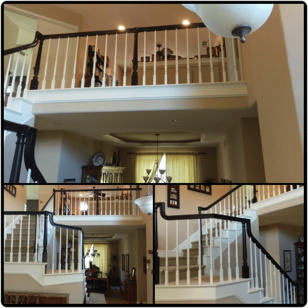The beautiful work of Vivify Painting! The banister was originally all oak and now has white spindles and base and black handrail and bases. Definitely changes up the home! Call today for your free estimate!
